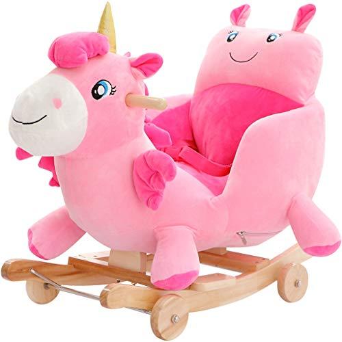 Trojan Cheval à Bascule pour Enfants Musical Wood Rocking Chair Bébé Jouet Cadeau Securable (Couleur : Pink)