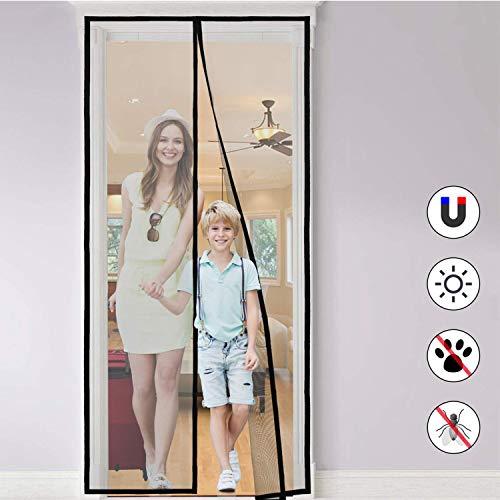 Magnet Fliegengitter Tür Insektenschutz, Magnet Fliegenvorhang Moskitonetz Automatisches Schließen für die Balkontür, Kellertür Und Terrassentür, Kinderleichte Klebemontage Ohne Bohren (90 * 210 cm)