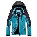 Panegy - Mujer Chaqueta de Invierno para Deportes al aire libre Esquí Ski Montaña de Lana Impermeable Rompevientos Chubasqueros - Azul Ligero - Talla XXL