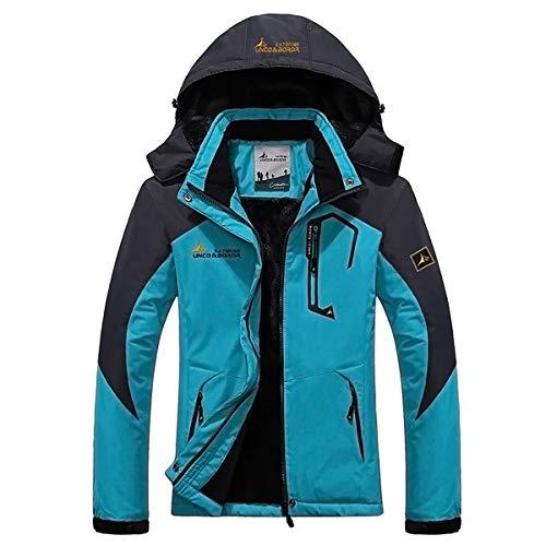 Panegy - Invierno Chaqueta Impermeable de Esquí Ski para Mujers Chaqueta Capa a prueba a viento de Nieve con capucha - Azul Ligero - Talla M