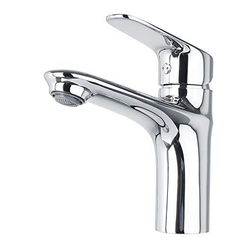 Homfa Waschtischarmatur Badarmatur Waschbeckenarmatur für Badzimmer Wasserhahn Bad Edelstahl Waschtischbatterie Einhebelmischer Mischbatterie Eckig Hochdruck Chrom