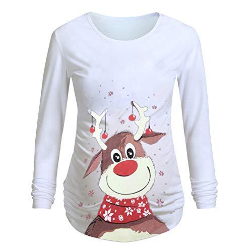 Camiseta Estampada de Dibujos Animados de Manga Larga de Maternidad de Navidad Tops Blusa de Embarazo (Blanco, L)
