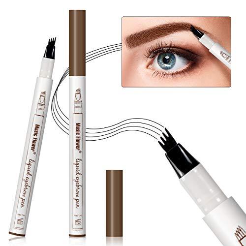 Augenbrauen Tattoo Pen Micro Ink Brow Pen 4 Punkte Microblading Eyebrow Pencil Langlebiger wasserdichter Augenbrauenstift Erstellt Mühelos Tägliches Make-up Natürliche Augenbrauen(Kastanie EB01)