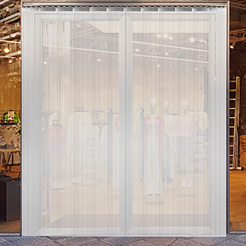 VEVOR Plastic Curtain, 6ft Width x 8ft Height Plastic Strip Curtain, Clear PVC Freezer Curtain, 0.08in Thickness Plastic Door Strip w/Over 50% Overlap for Walk-in Freezers, Warehouse and Clean Rooms