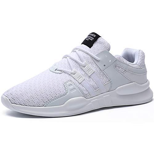 BAOLESME Herren Sportschuhe Atmungsaktiv Gym Laufschuhe Leichtgewicht Turnschuhe Freizeit Outdoor Sneaker, 02 Weiß, 45 EU