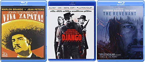 Western Action Blu-ray Movie Collection - Viva Zapata!, Django Unchained, & The Revenant 3-Blu-ray Bundle