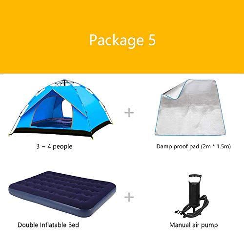LLSS Package Camping Tents Inflatable Mattress Inflatable Pump Barbecue Pad Insulation Pads Thick Rain 3-4 People Camping Outdoor Mountaineering Expeditions Beach Tent,03