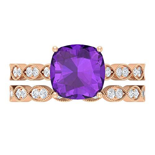 Anillo de piedra preciosa solitario, conjunto de anillos de novia, 3,01 quilates cojín amatista anillo, D-VSSI Moissanite anillo, conjunto de anillos de compromiso, 14K Oro rosa, Size:EU 56