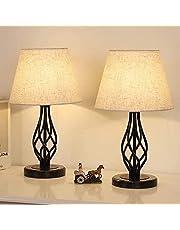 LIANTRAL Lampy nocne zestaw 2-częściowy, nowoczesna lampa stołowa z marmurowym cokołem i lnianym kloszem, mała lampa do sypialni, salonu, akademika, dekoracja