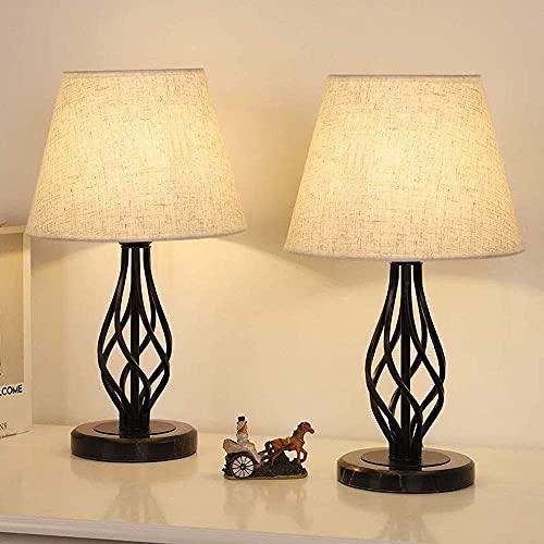 LIANTRAL Juego de 2 lámparas para mesita de noche, lámpara de mesa moderna con base de mármol y pantalla de lino, lámpara pequeña para dormitorio, salón, dormitorio universitario, decoración