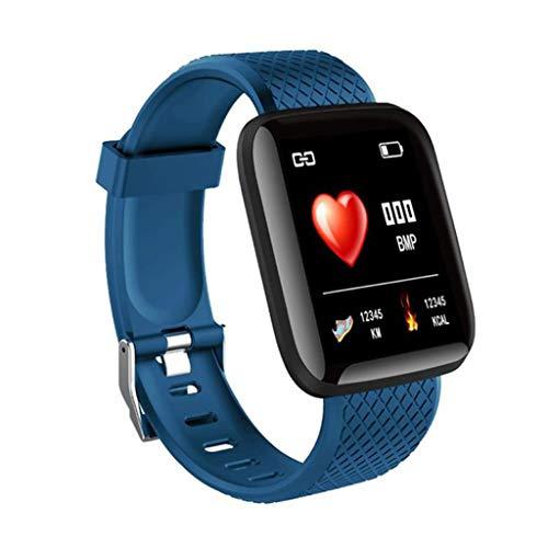 QERMULA Sports Watch, Bluetooth IP67 Fitness Trackers Reloj Inteligente para monitorear el Ritmo cardíaco y la detección del sueño Reloj Deportivo para Hombres y Mujeres Pulsera Inteligente Azul