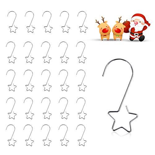 EKKONG 50 Weihnachtsbaum Haken,Xmas Klein Aufhänger,Stern Weihnachtsbaumkugeln Haken Klein Schnellaufhänger,für Weihnachtskugel, Schöne Box