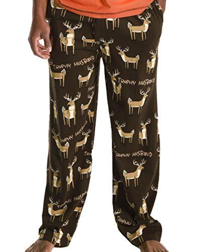 Lazy One Animal Pajama Pants for Men, Men's Separate Bottoms, Lounge Pants, Buck, Deer, Hunting (Trophy Husband, Medium)