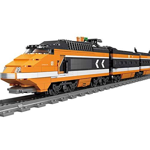 AOTEMO Tren eléctrico con motor, 1287 piezas de alta velocidad, tren de...