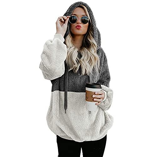 FMYONF Sudadera con capucha para mujer, elegante, bloque de colores, forro polar de peluche, manga larga, monocolor, otoño, invierno, cálida, plush jersey (gris oscuro, S)