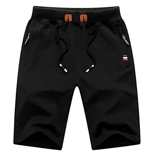 Pantalones Hombre Cortos Casual Pantalon Corto Verano Deporte Running Short Hombre Playa Negro/M