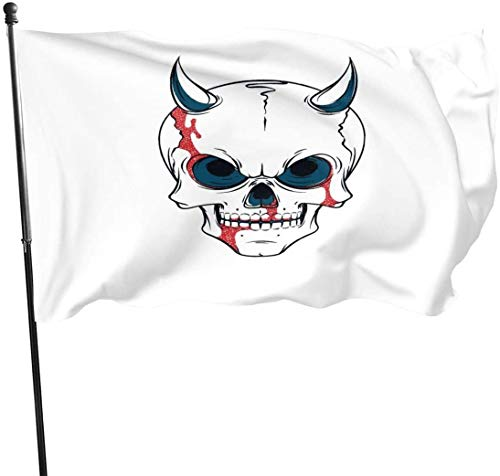 Oaqueen Flagge/Fahne Skull Red Png Fahnen Flaggen Durable Fade Resistant Decorative Flags Premium Flag with Grommets Polyester Deluxe Outdoor Banner for All Seasons & Holidays- 3X5 Ft