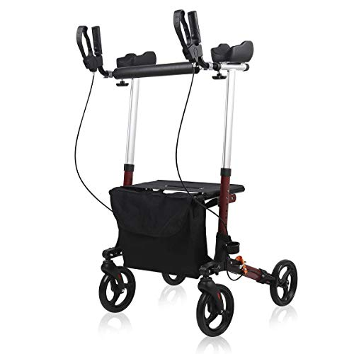 Upright Walker, Give Me Stand Up Folding Rollator Walker with Padded Armrests, Detachable Bag for Seniors and Adults (Red)