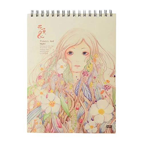 50 Hojas A4 Papel Acuarela Cuaderno de bocetos Bloc de Notas Pintura Dibujo Diario Cuaderno