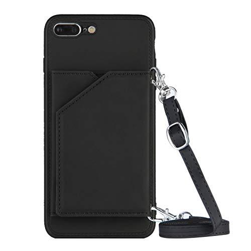Cartera titular de la tarjeta de crédito con cordón Teléfono caso para iPhone 7 Plus/8 Plus (negro)