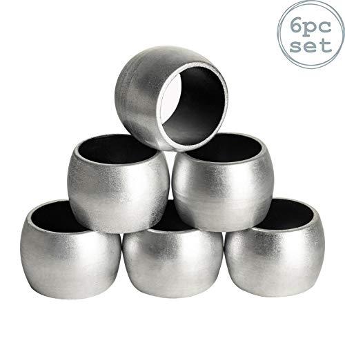 Argon Tableware Serviettenringe aus Silber - 6er Packung