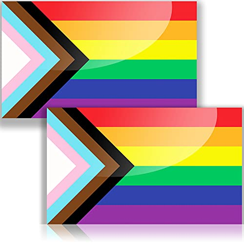 Pride Bumper Sticker or Pride Car Decal, Rainbow sticker and Pride Stickers for cars, Gay Pride Stickers for laptop or Gay Bumper Stickers Gloss Laminated LGBT Stickers or Equality Sticker (two pack) 5  x 3