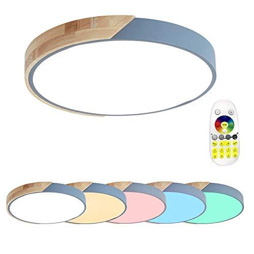 48W LED Deckenleuchte Holz Bunte mit Fernbedienung - Runde Deckenlampe Ultra-dünne 5cm für Schlafzimmer Wohnzimmer Kinderzimmer, RGB
