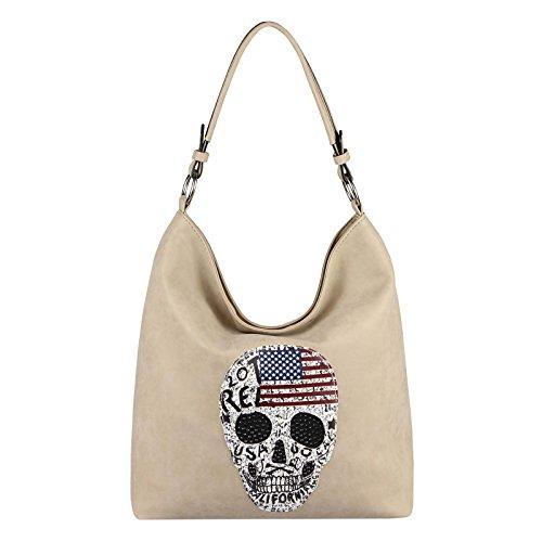 OBC Damen Totenkopf Skulls Tasche Handtasche Shopper Strasssteine USA Flagge Schultertasche Umhängetache Henkeltasche Hobo-Bag (Taupe)