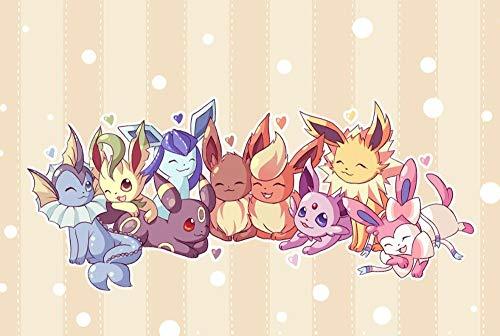 KONGXOZ Puzzle 500 Pièces Pokémon de partition en Bois Famille pour Adultes Se Détendre Assembler Jeu Jouets en Bois Cadeau pour Aîné-38 * 52cm