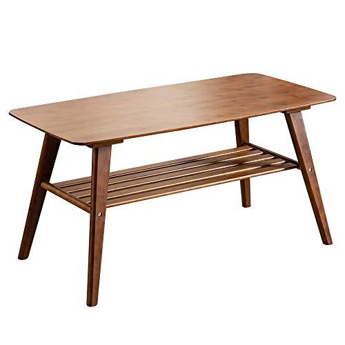 ローテーブル 幅100cm 高さ50cm センターテーブル リビングテーブル 棚付き テーブル 竹製 TC10050