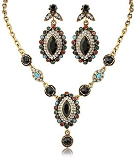 Women's Vintage Waterdrop Pendant Choker Necklace Earrings Gold Plated Jewelry Set.