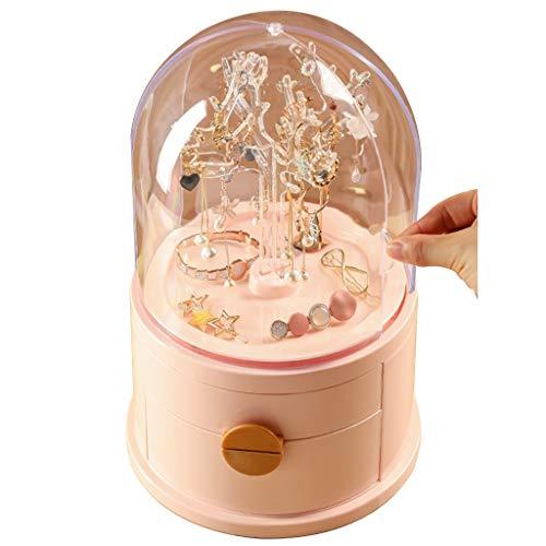 Joyero Soporte de exhibición de Pendientes Colgador de Collar Perchero Giratorio para Joyas Caja de Almacenamiento de Joyas a Prueba de Polvo (Color : Pink, Size : 20 * 32cm)