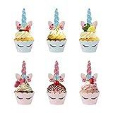 MengH-SHOP Kuchenaufsätze Einhorn Mini Cupcake Toppers und Wrappers Verpackung Beidseitig