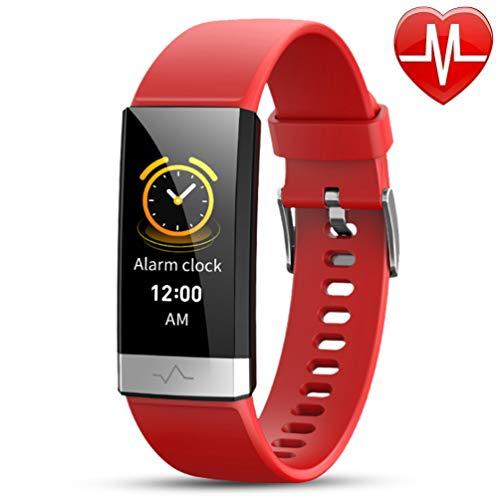 Fitness Tracker Activity Tracker Scherm Touch Waterdicht Smart Band met hartslagmeter Stappenteller Calorieteller Stappenteller Smartwatch voor kinderen Dames Heren Android IOS,Red