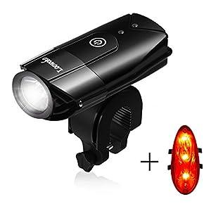 Loowoko Lumière de vélo, Lampe pour Velo Rechargeable USB Ultra Lumineux de 550 lumens, Eclairage Arrière Inclus, Convient à Tous Les Vélos, Multi Modes d'éclairage,Impermeable IP65