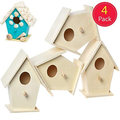 Baker Ross EC1235 Mini hout, vogelhuisjes om te beschilderen en te decoreren voor kinderen kunst en handwerk of tuinprojecten (4 stuks)