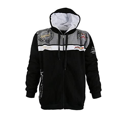 Modische Sweatshirt Jacke von Lavecchia in Schwarz mit Kaputze in den Größen 3XL - 8XL (7XL)