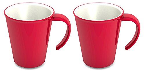 Ornamin Kaffeepott 300 ml rot, 2er-Set (Modell 1201) / Kaffeebecher, Mehrwegbecher Kunststoff