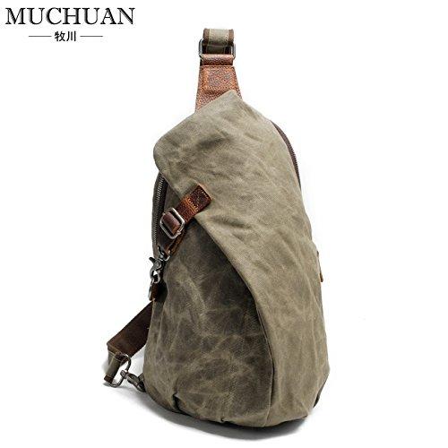 KEROUSIDEN Wasserdichte Batik Rucksack Retro Brust Herren Canvas Shoulder Bag Casual Knödel Rucksack Bike Bag H37*W13*L23 cm, Army Green