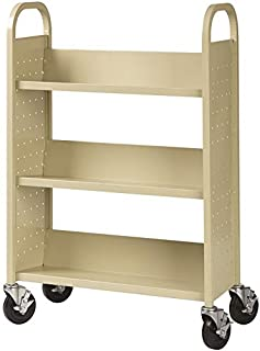 Hirsh Rolling Library or Home Office Single-Sided Sloped Shelves Book Cart with Lockable Wheels in Putty