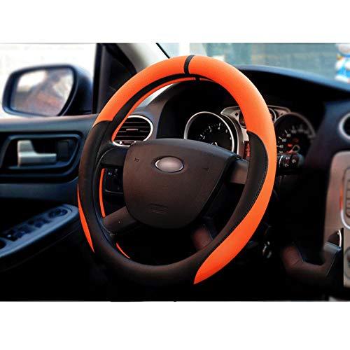 Housse De Volant De Voiture Cuir D'été Diamètre 38Cm Enjoliveur De Roue Respirant Confortable Four Seasons Universal,Orange