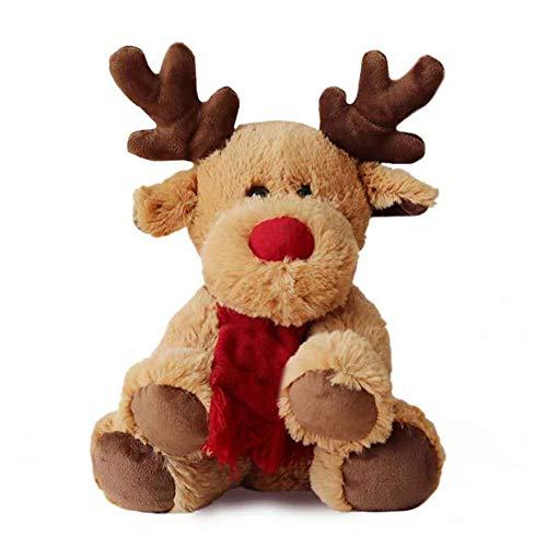 Gemini_mall Lovely Christmas Reindeer Bear Animal Soft Plush Stuffed Doll Kids Toy for Baby Boys Girls Christmas Birthday Gifts Stocking Fillers Brown Reindeer