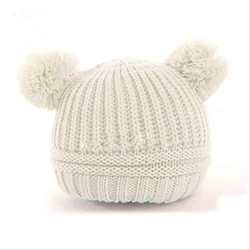 QZHYGE Gorras Tejidas a Bolas para bebés Niños Niñas Niños pequeños Crochet Beanie Hairball Oreja Sombrero para bebés Gorras Lindas para niños Sombrero de Invierno