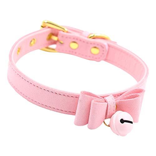 Baoblaze Collar Gargantilla de Cuero PU con Campana Lazo de Mujer Chica - Rosado