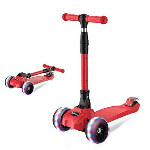 Barakara 3-in-1 Roller Kinder Kinderroller Faltbar Scooter, Dreirad für Kinder mit Sicher LED Große Räder,...