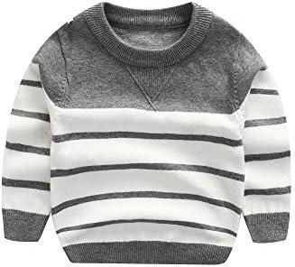 Peecabe Kids Boys Knitting Sweater Baby Cotton Stripe Cardigan 1 5T 5T Gray product image