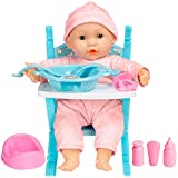 Best Choice Products 14in Realistic Baby Doll Life-Size Toddler Kids Toy Set with Soft Body, Highchair, Potty, Pacifier, Bottle, 9 Accessories Included