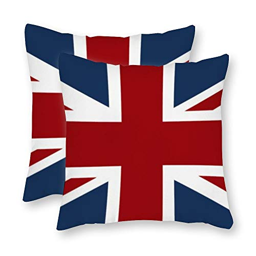 Yilooom Pack Of 2, Canvas Union Jack Flag Red White And Blue Decorative Square Throw Pillow Covers Set Cushion Case For Couch Sofa Home Decoration 12x12 Inch