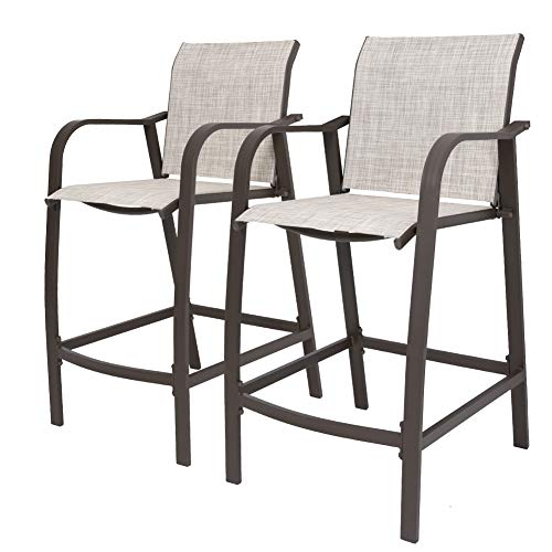 Crestlive Products Counter Height Bar Stools All Weather Patio Furniture with Heavy Duty Aluminum Frame in Antique Brown Finish for Outdoor Indoor, 2 PCS Set (Beige)
