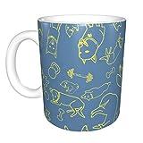 Tazza in ceramica gialla con animali da fitness, tazza da caffè, tazza da tè, boccale da birra per ufficio e capacità domestica